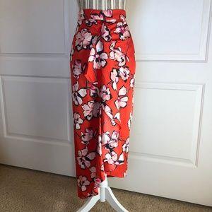 NWOT Lewit Red loral Print Hi-Lo Stretch Skirt
